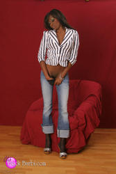 Christina The Black Barbi red chair/jeans/white top - Image 5
